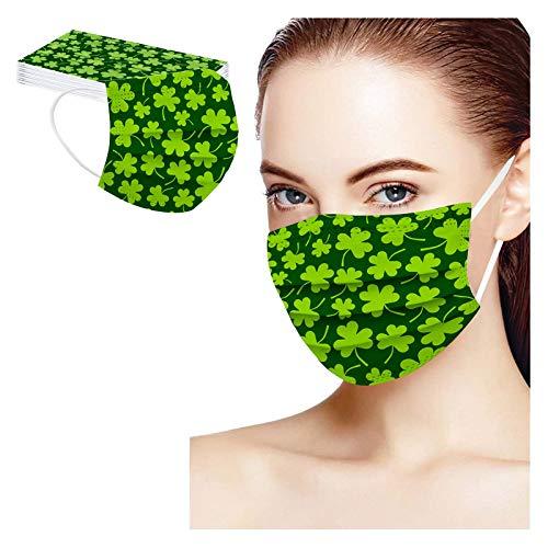 ST Patricks Disposable Face Mask for Adults Holiday Saint Green Shamrock Mask Coronɑvịrus Protectịon Breathable 3ply (50 Pcs, F1)