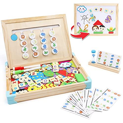 Akokie Juguetes Puzzle Infantile de Madera, Juegos de Clasificación de Animales Tablero, Rompecabezas Montessori 2 en 1 con 10 Tarjeta de Patrón y Pizarra Magneticas Regalos para niños 3 4 5 6 años