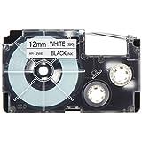 カシオ ラベルライター ネームランド 純正 テープ 12mm XR-12WE-5P-E 白地に黒文字 5本