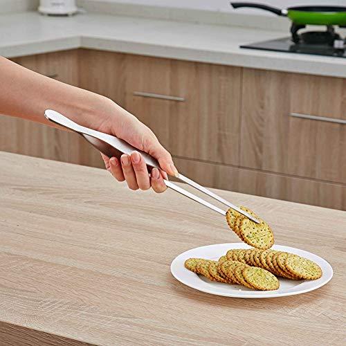 Clip per alimenti antiscivolo, pinze da cucina durevoli in acciaio inossidabile per uso alimentare, manico lungo per ristorante domestico