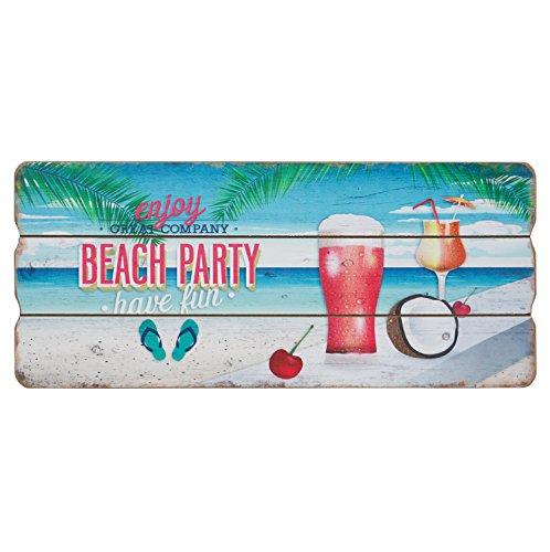 Cartel de madera, placa de pared, puerta, de decoración, cartel MDF de vacaciones, decorativo, 34x 15cm, madera, Beach Party, 34cm x 15cm x 1cm