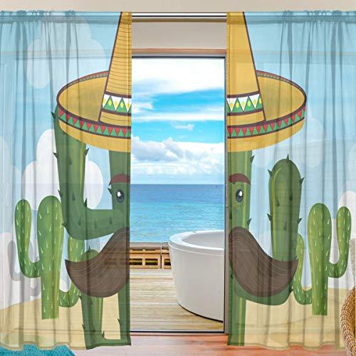 TIZORAX Cactus Karakter Met Mexicaanse Hoed Sheer Gordijnen Poly Linnen Voile Gordijn Panelen Stang Pocket Gauze Gordijnen voor Woonkamer Slaapkamer, 55