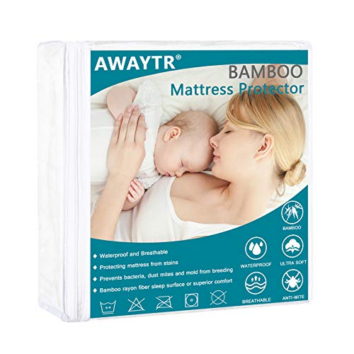 AWAYTR Waterproof Bamboo Mattress Protector - Ultra Soft Breathable & Hypoallergenic Cal King Bed Protector Cover