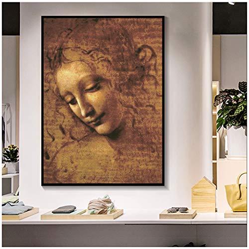 sjkkad Leonardo DA Vinci Frau Kopf Giclée leinwand Malerei Klassische Kunst Wandkunst Bilder Für Wohnzimmer Schlafzimmer Sthdy-50x70 cm Kein Rahmen