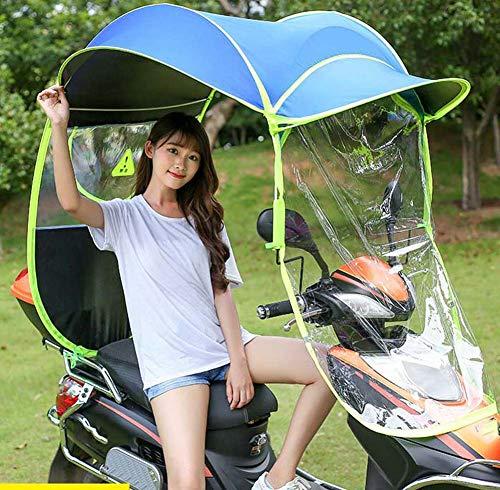 ZJWD Toldo Transparente para Coche Eléctrico, Mobility Scooter Sun Rain Wind Cover Coche Eléctrico Prevenir Paraguas, Universal Electric Motorcycle Sunshade Cover,Azul
