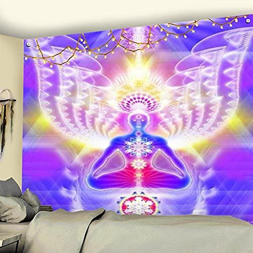 KONZFV tapizTapiz de Chakra de meditación de Buda, Tapiz de Montaje en Pared, Tela de Pared, cojín de Yoga psicodélico, decoración de Alfombra