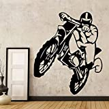 fancjj AiyoAiyo Motocicleta Dirt Bike Motocicleta de Vinilo Etiqueta de la Pared para niños Home Motor extraíble Tatuajes de Pared Dormitorio decoración Mural 43x51 cm