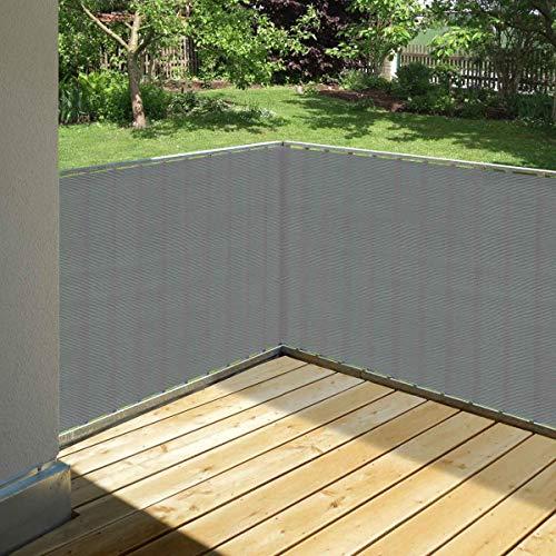 Balkonsichtschutz grau 90 x 500 cm aus HDPE: wetterfest & langlebig :: Wind- und Sichtschutz für Balkon, Terrasse, Garten ohne bohren