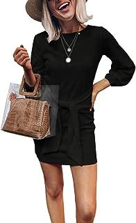 Womens Velvet Tie Front Short Dress Casual Long Sleeve Elegant Slim Fit Party Mini Dresses