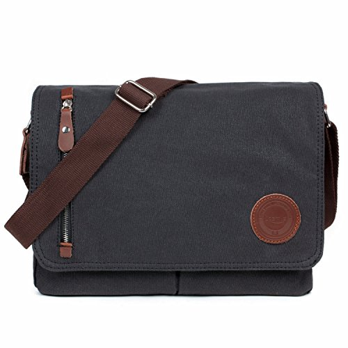 LOSMILE Bolsa Bandolera de Tela de Lona para Hombre,Unisex Vintage Canvas Bolso de Hombro para Messenger Bag para Trabajo Uni Viaje Deporte. (Negro)