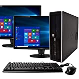 HP Elite Desktop Computer, Intel Core i5 3.2 GHz, 8 GB RAM, 500 GB HDD, Keyboard & Mouse, Wi-Fi, Dual 19' LCD Monitors (Brands Vary), DVD-ROM, Windows 10 (Renewed)
