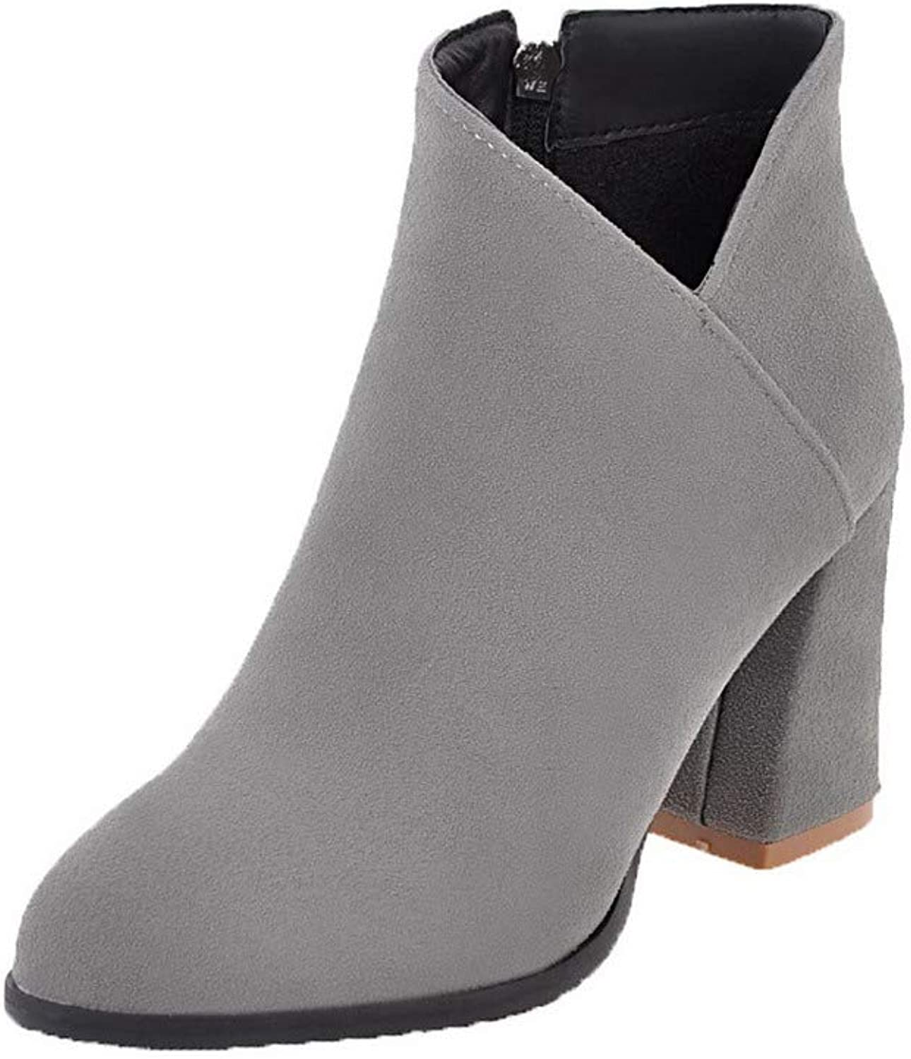 WeenFashion Women's Round-Toe Low-Top High-Heels Solid Frosted Boots, AMGXX130634