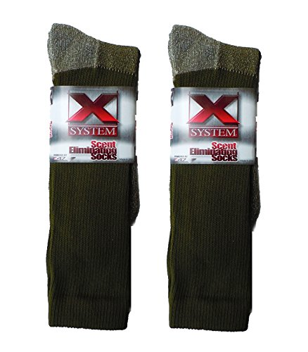 2 Pair of 13' Long XLarge Scent Eliminating Socks: Green or Black (Green)