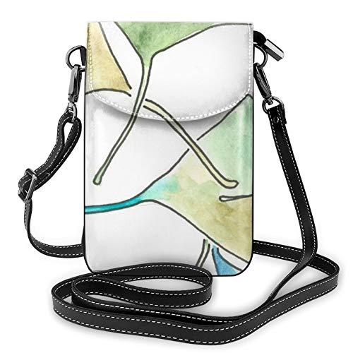 Karen Ginkgo - Bolso bandolera de piel con patrón de hojas para teléfono móvil, ligero, para mujeres, viajes, compras