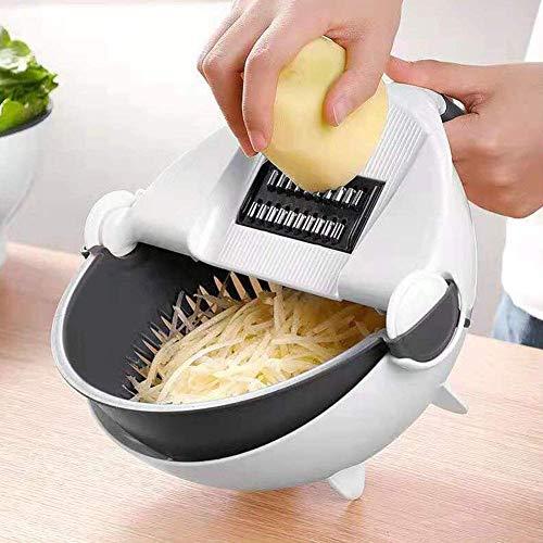 VOANZO Cesta de desagüe Cortador de verduras [9 EN 1], Picador de verduras multifuncional Cocina Vegetal Trituradora de frutas Rallador Rebanadora portátil