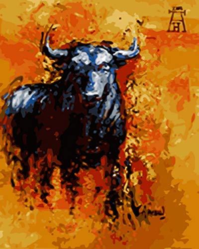 No brand DIY olieverfschilderij schilderijen cijfers beschilderde buffel schilderijen op nummer-kits voor volwassenen beginners kinderen, creatieve DIY digitale olieverfschilderij canvas.40 * 50 cm