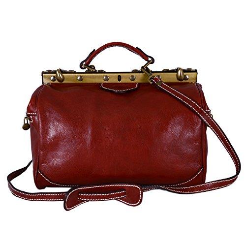 Dream Leather Bags Made in Italy toskanische echte Ledertaschen Leder Arzttasche, 2 Seitentaschen Farbe Rot - Italienische Lederwaren - Aktentasche