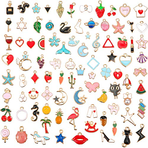 90 Pieces Assorted Gold Plated Enamel Dangle Charm Pendant for Jewelry Making (Hawaii Style)