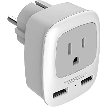 Germany France Travel Power Adapter, TESSAN Schuko European Plug with 2 USB, Type E FOutlet Adaptor Charger for US to Europe EU German French Russia Iceland Spain Greece Norway Korea