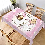 Mantel de Hello Kitty, impermeable, resistente a las arrugas, lavable, tela de poliéster, resistente, para decoración de fiestas, 152 x 228 cm