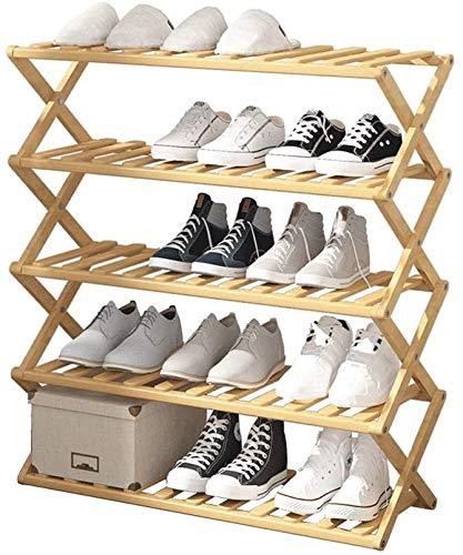 Shoe Rack Pieghevole Semplice Scarpe da scarpe da scarpe in bambù Multi-layer Cabine Economico per la casa Cabina di scarpe da installazione Senza installazione Simple Shoe Rack per soggiorno Wngway C