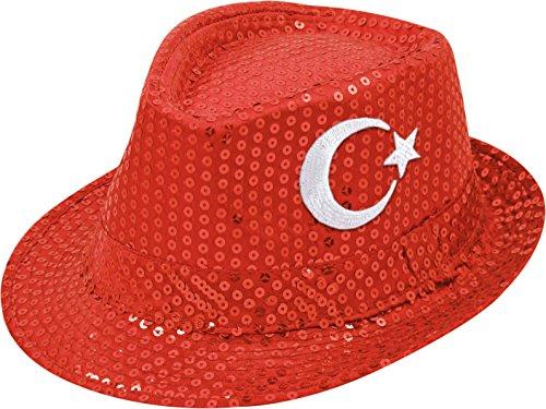 TrendandStylez Fanartikel Pailletten Hut EM & WM Trilby Hut 7 Länder (Türkei)