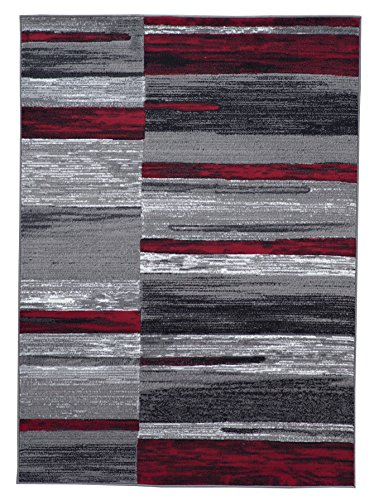 Red and Grey Contemporary Modern Area Rug