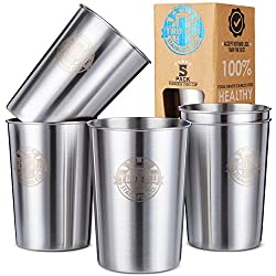 NOTHING LESS THAN THE BEST - Treat yourself and your loved ones with our best in class fit and finished, ELECTROPOLISHED, premium 304 18/8 Food Grade Stainless Steel drinking glasses. We've left no stone unturned to bring you the ultimate in steel dr...