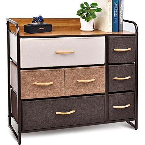 CERBIOR Drawer Dresser Closet Storage Organizer 7-Drawer Closet Shelves Sturdy Steel Frame Wood Top with Easy Pull Fabric Bins for Clothing Blankets - Mixture