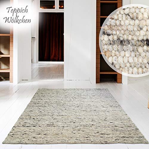 Hand-Web-Teppich | Reine Schur-Wolle im Skandinavischen Design | Wohnzimmer Esszimmer Schlafzimmer Flur Läufer | Grau Beige (Kiesel - 130 x 190 cm)