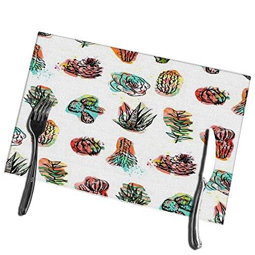 Winter-South placemats voor eettafel, set van 6 abstracte creatieve sappige cactussen en planten op wasbare, gemakkelijk te reinigen placemat