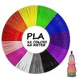 【12 Colores Diferentes】El juego de filamentos de lápiz 3D de tiene 12 colores diferentes que son muy brillantes y hermosos. Diámetro del filamento: 1,75 mm, longitud de cada color: 5 metros, 60 metros en total. Puedes elegir el color según tus prefer...