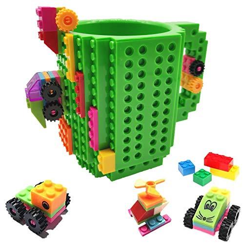 HUISEHNG Build on Brick Tasse, Building Mug Becher, Ostern Vatertag Geburtstag Einschulung Weihnachtengeschenk Idee, Geschenk für Männer Kinder Papa Junge, Kompatibel für Lego (Grün)