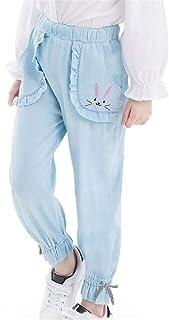(ジャンーウェ)ランタン デニムパンツ 女の子春夏 薄手 ロングパンツ ボトムス ストレッチ ゆったり 子供服 ジュニア カジュアル 刺繍 兎 リボン付き かわいい