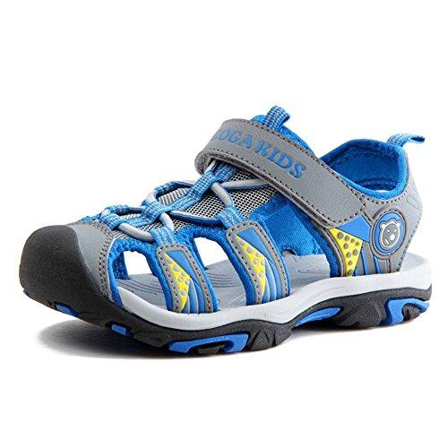 Sommer Strand Geschlossene Sandalen Klettverschluss Outdoor Wanderschuhe Ultraleicht Breathable Schuhe Flach Jungen Mädchen Kinder(EU 36 - Schuhe Innenlänge 23.0cm,Grau)