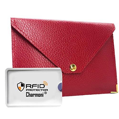 Charmoni - Porte Papiers De Voiture Enveloppe à Bouton Pression Permis De Conduire La Carte Grise Carte Bleue En Croûte Cuir Mazlum - rouge