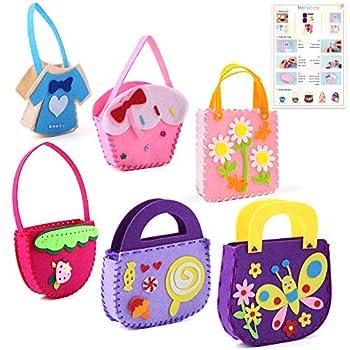 DIY Craft Felt Sewing Kit for Kids Educational Crafts Sewing Kit Kids Sewing Kit Include 6 Different Styles Handbag Sew Educational Toys for Girls and Boys Beginner Felt Craft Kits
