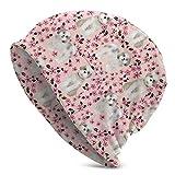 longing-summer Cherry Blossom Blanc Rose Chien Chiot Shih Tzu Unisexe Adulte Bonnet Bonnet Hiver Chaud Motif Impression Cap Noir - - Taille Unique