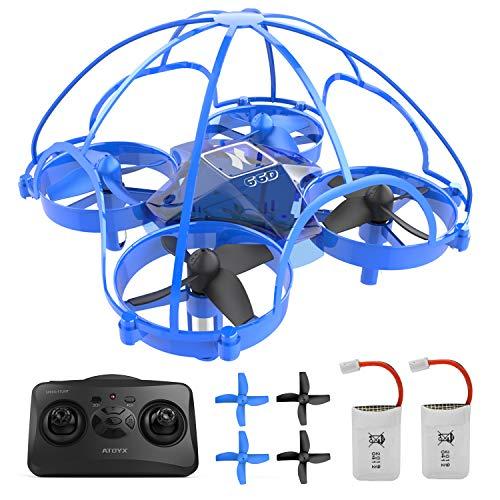 ATOYX Mini Drone para Niños y Principiantes, AT-66D RC Drone Protección de 360 °, Mejor Regalo/Dron de Juguete para Niños , 3D Flips,Una Tecla de Retorno, Modo sin Cabeza, 2 Baterías, Azul
