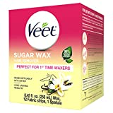 VEET Sugar Wax Hair Remover - Perfect for First Time Waxers - Contains 12 Fabric Strips & 1 Spatula with a Temperature...
