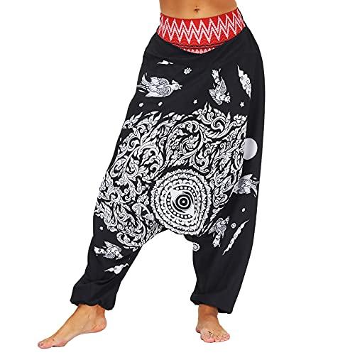neiabodos Pantalones Boho Yoga de mujer y hombre Unisexy Cintura Alta Vintage Impresión Moda Pantalones Harem Largos Etnicos Estampado Tallas Grandes Pantalones de Playa Casual Hippy Fluidi