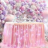 NSSONBEN Rosa Tulle Gonna da Tavolo LED Tutu Gonne da Tavolo per Matrimoni Feste Festa di Compleanno Bambino Doccia Decorazione 3Yard/9ft/L275cm*H77cm
