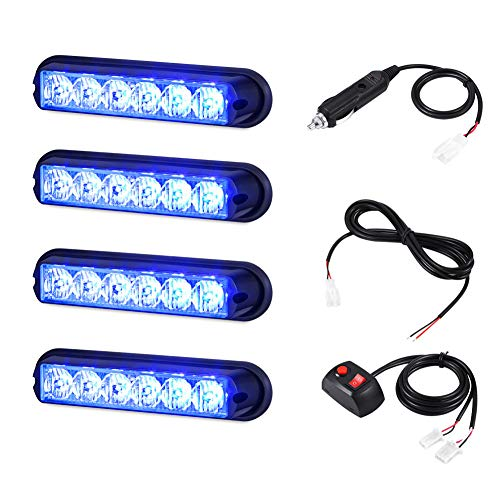 AT-HAIHAN 4 in 1 Blue Surface Mount Grill Light Head, 6W Bright LED Mini Strobe Lightbar for Volunteer Firefighter Vehicle, Law Enforcement Car etc.