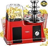 Popcornmaschine Heißluft Popcorn Maker mit Edelstahl Schokoladenfontäne, Ölfreie Maschine mit...