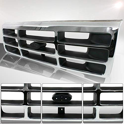 Make Auto Parts Manufacturing Chromed Shell & Gray Insert Grille with Emblem Provision For Ford Bronco 1992-1996 & For Ford F150 F250 F350 1992-1996 - FO1200173