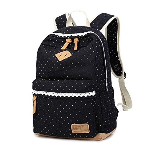 18L Mädchen Schulrucksack beiläufige Leichte Segeltuch Spielraum Laptop reiserucksack. Schule Rucksäcke Teenager Outdoor Freizeit Daypacks (Schwarz)