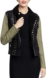 Faux-Fur-Lined Moto Jacket Black Size Large