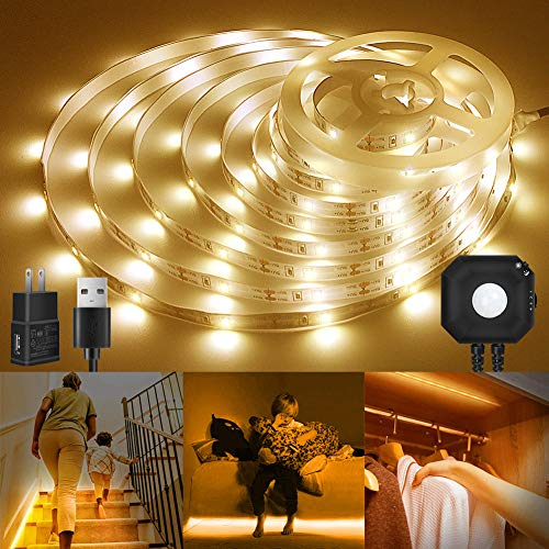 Motion Sensor Light Strip, 9.8ft Warm White Flexible Closet Lights with Automatic On/Off Timer, 5V USB LED Strip Night Light for Kitchen, Stairway, Under Cabinet - 3500K