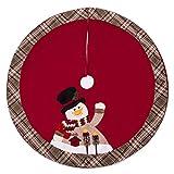 iPEGTOP 42' Christmas Tree Skirt - Snowman Xmas Tree Skirt Holiday Decorations - Cherry Non Woven and Tartan Rim