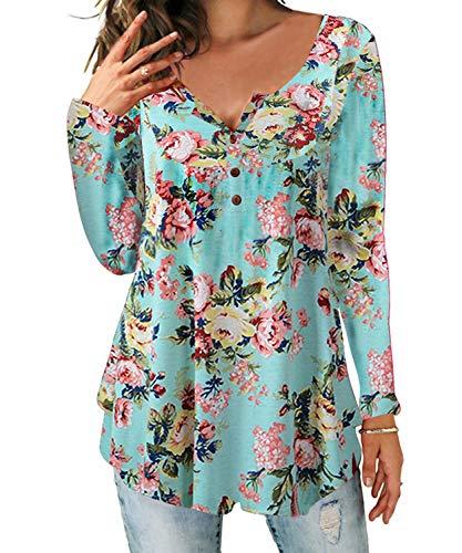 Demo Show - Maglia Henley da donna a maniche lunghe, top con scollo a V e abbottonatura, plissettato, motivo floreale Azzurro XL